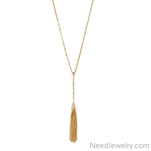"Item # [sku} - 18""+2 14 Karat Gold Plated Tassel Necklace on NeedJewelry.com"