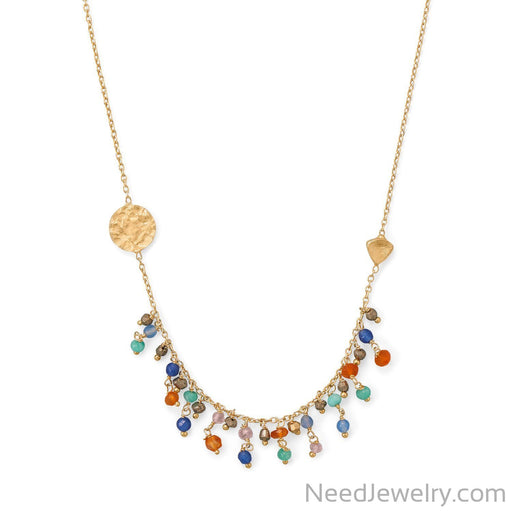 "Item # [sku} - 16.5""+2 14 Karat Gold Plated Multi-stone Necklace on NeedJewelry.com"
