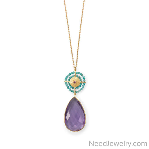 "Item # [sku} - 32"" 14 Karat Gold Plated Amethyst and Amazonite Necklace on NeedJewelry.com"