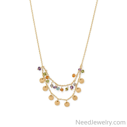 "Item # [sku} - 17.5""+2 Two Strand, Multi Stone Necklace on NeedJewelry.com"