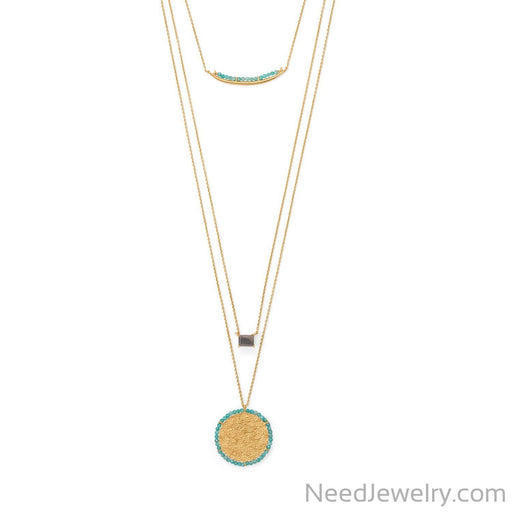 "Item # [sku} - 17""/30"" 3 Strand Amazonite and Labradorite Necklace on NeedJewelry.com"