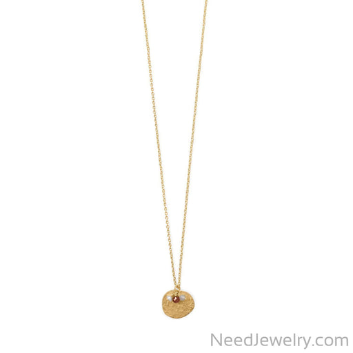 "Item # [sku} - 30"" 14 Karat Gold Plated Garnet, Labradorite and Pearl Disk Necklace on NeedJewelry.com"