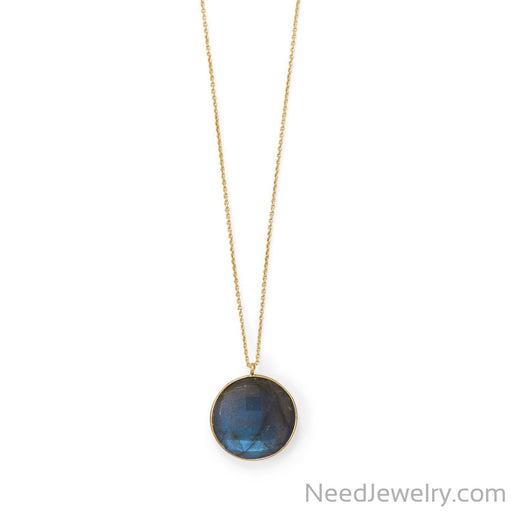 "Item # [sku} - 20""+2 14 Karat Gold Plated Round Labradorite Necklace on NeedJewelry.com"