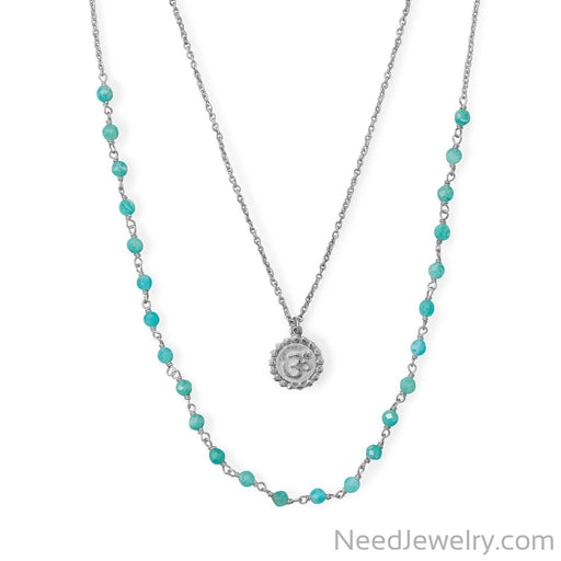 "Item # [sku} - 18""+21""+2 Rhodium Plated Amazonite Om Necklace on NeedJewelry.com"