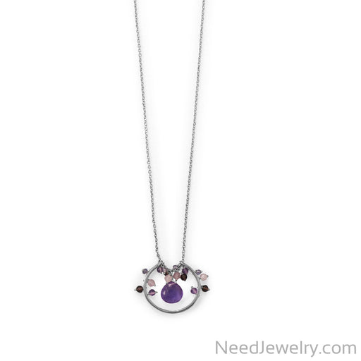 "Item # [sku} - 30"" Rhodium Plated Amethyst, Multi Stone Beaded Necklace on NeedJewelry.com"