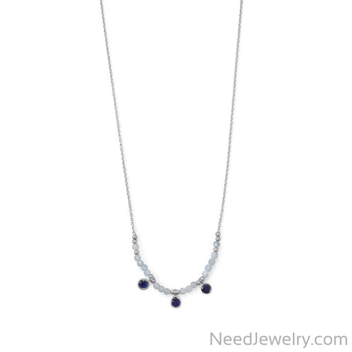 "Item # [sku} - 21""+2 Rhodium Plated Aquamarine and Blue Quartz Necklace on NeedJewelry.com"