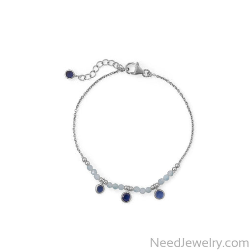 "Item # [sku} - 7""+1 Rhodium Plated Aquamarine and Blue Quartz Bracelet on NeedJewelry.com"