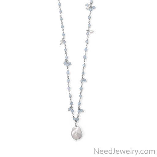 "Item # [sku} - 18""+2 Three Stand Aquamarine and Cultured Fresh Water Pearl Necklace on NeedJewelry.com"