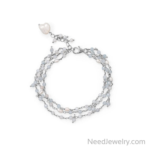 "Item # [sku} - 7""+1 Three Stand Aquamarine and Cultured Fresh Water Pearl Bracelet on NeedJewelry.com"