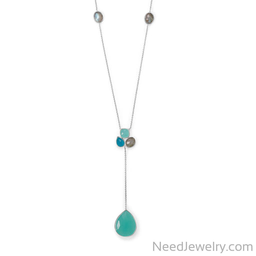 "Item # [sku} - 28""+2 Chalcedony, Green Jade and Labradorite Necklace on NeedJewelry.com"