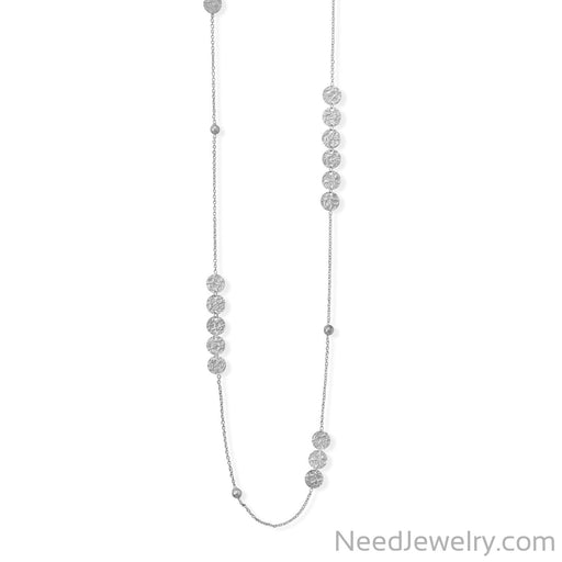 "Item # [sku} - 36"" Rhodium Plated Disks and Bead Chain Necklace on NeedJewelry.com"