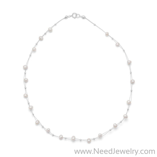 "16"" Double Strand Cultured Freshwater Pearl Necklace-Necklaces-Needjewelry.com"