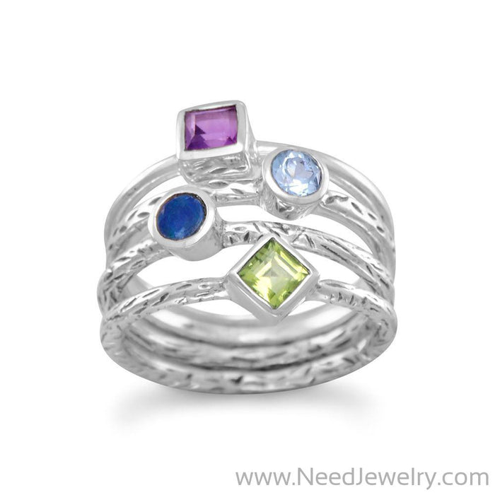 4 Band Multistone Ring-Rings-Needjewelry.com