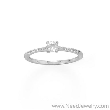 4mm CZ with Rhodium Plated CZ Band-Rings-Needjewelry.com
