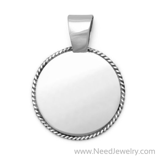 Engravable Pendant with Rope Edge-Pendants-Needjewelry.com