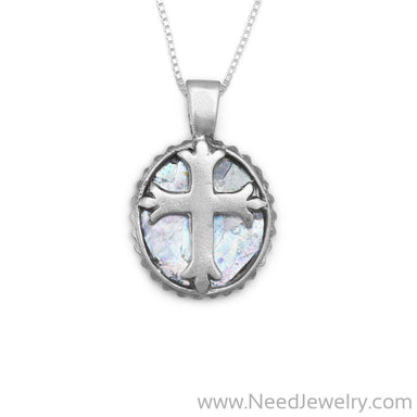 "18"" Oval Roman Glass Cross Necklace-Necklaces-Needjewelry.com"