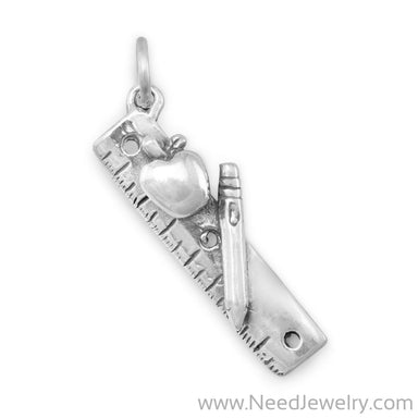 Ruler with Apple Charm-Charms-Needjewelry.com