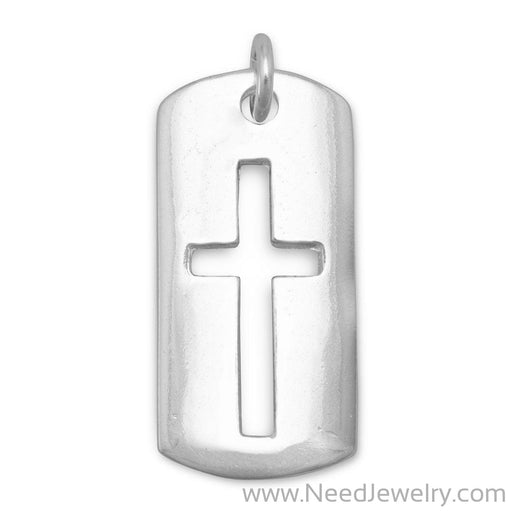 Rectangular Tag with Cut Out Cross Pendant-Pendants-Needjewelry.com