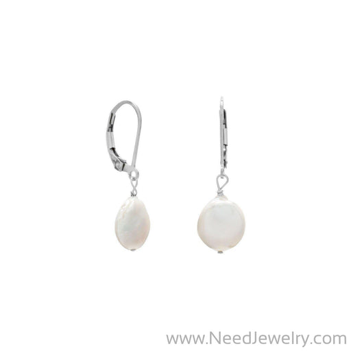 10mm Cultured Freshwater Coin Pearl Earrings-Earrings-Needjewelry.com