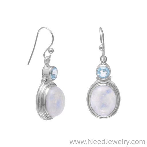 Blue Topaz and Moonstone Earrings-Earrings-Needjewelry.com