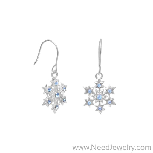 Small Aqua Crystal Snowflake Earrings on French Wire-Earrings-Needjewelry.com