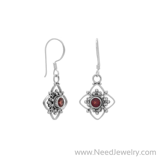 Faceted Garnet and Flower Design French Wire Earrings-Earrings-Needjewelry.com