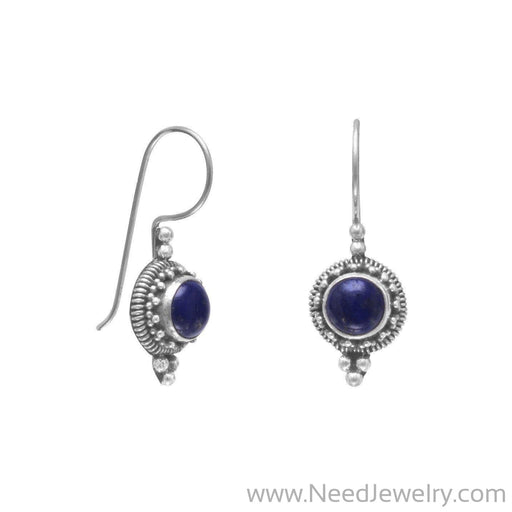 Round Lapis Bead/Rope Edge Earrings on French Wire-Earrings-Needjewelry.com