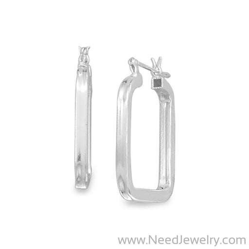 2mm x 24mm Square Hoop Earrings-Earrings-Needjewelry.com