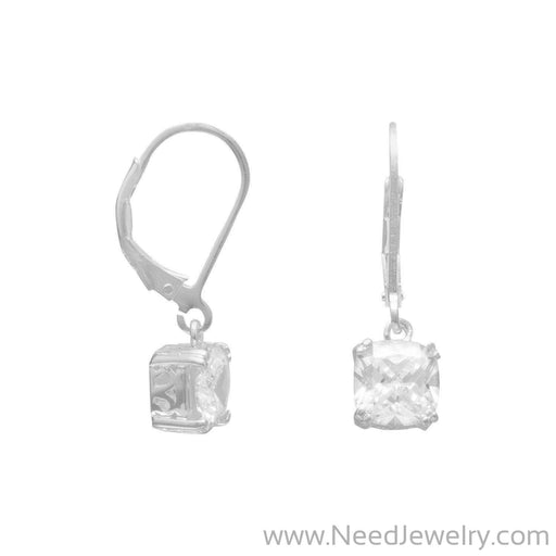 7mm Round Edge Square CZ Lever Back Earrings-Earrings-Needjewelry.com