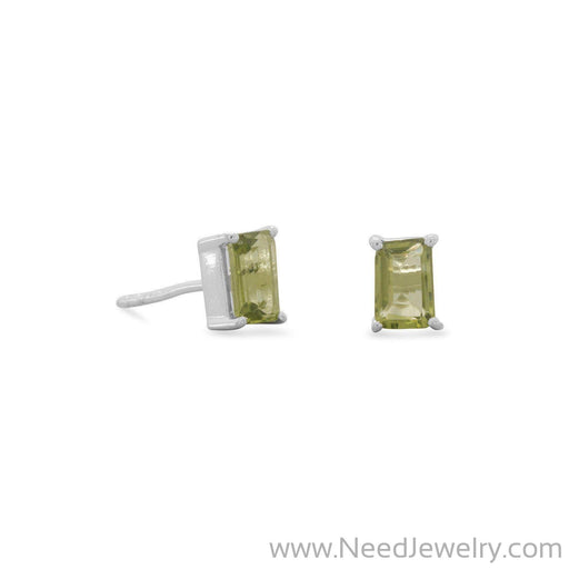 Emerald Cut Peridot Post Earrings-Earrings-Needjewelry.com