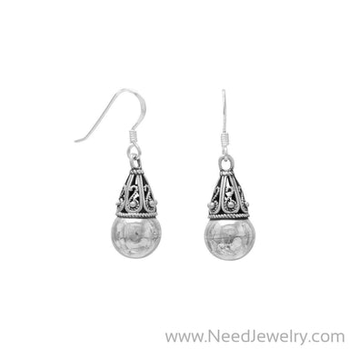 8mm Bead with Bali Cap Earrings on French Wire-Earrings-Needjewelry.com