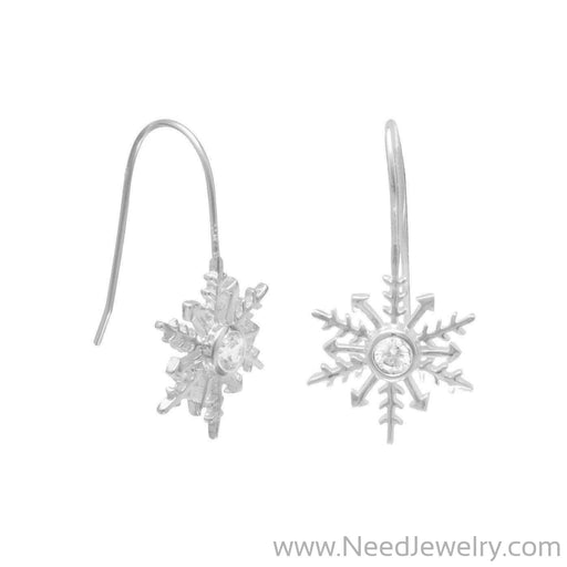 Polished CZ Snowflake Earrings on French Wire-Earrings-Needjewelry.com