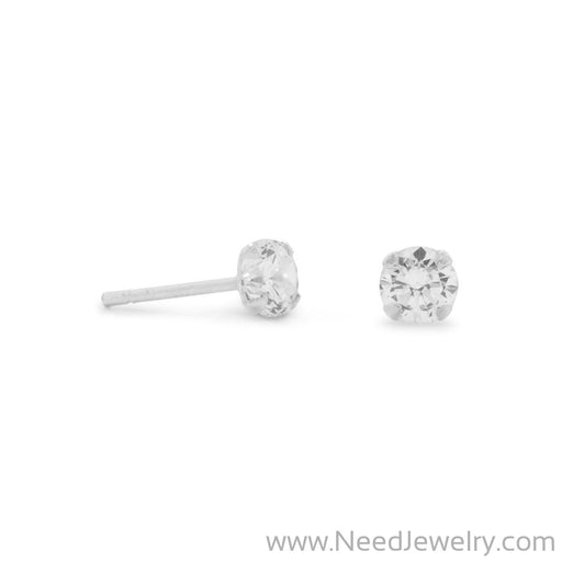 4mm CZ Stud Earrings-Earrings-Needjewelry.com