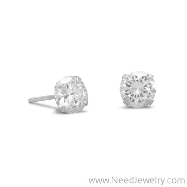 6mm CZ Stud Earrings-Earrings-Needjewelry.com