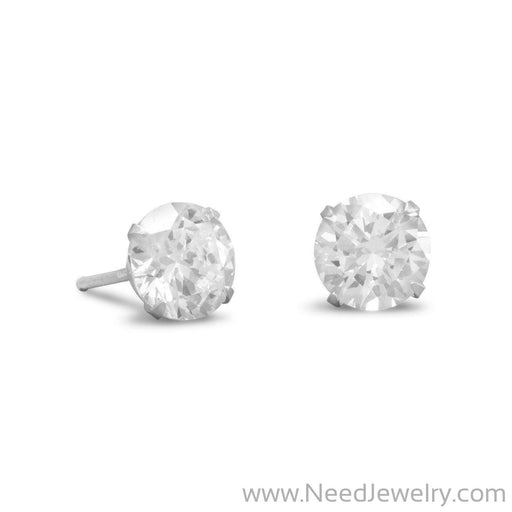 7mm CZ Stud Earrings-Earrings-Needjewelry.com