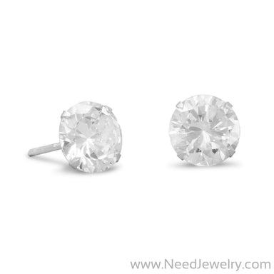 8mm CZ Stud Earrings-Earrings-Needjewelry.com