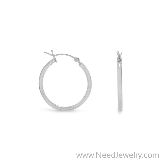 2mm x 24mm Hoop Earrings with Click-Earrings-Needjewelry.com