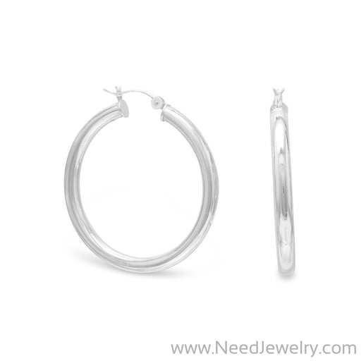4mm x 40mm Hoop Earrings with Click-Earrings-Needjewelry.com