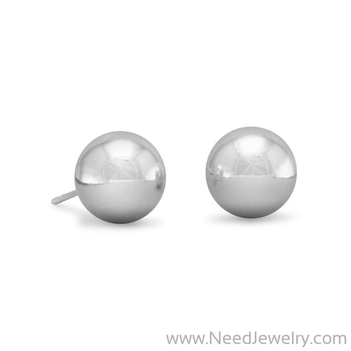 10mm Ball Stud Earrings-Earrings-Needjewelry.com