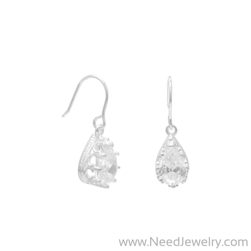 9x7mm Pear Shape CZ/Crown Edge French Wire Earrings-Earrings-Needjewelry.com