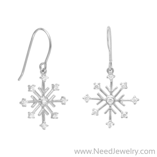 63215-Rhodium Plated 8 Point Snowflake Earrings with 9 CZs on French Wire-Earrings-Needjewelry.com
