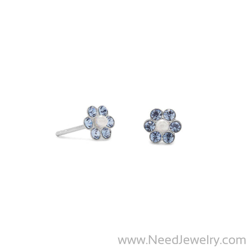Crystal and Simulated Pearl Flower Earrings-Earrings-Needjewelry.com