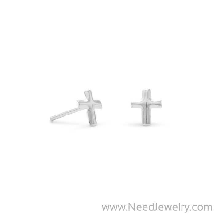 Small Polished Cross Post Earrings-Earrings-Needjewelry.com
