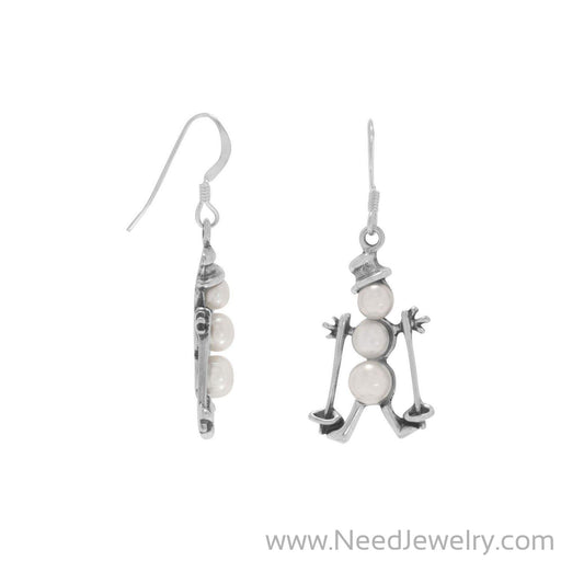 Cultured Freshwater Pearl Skiing Snowman Earrings-Earrings-Needjewelry.com