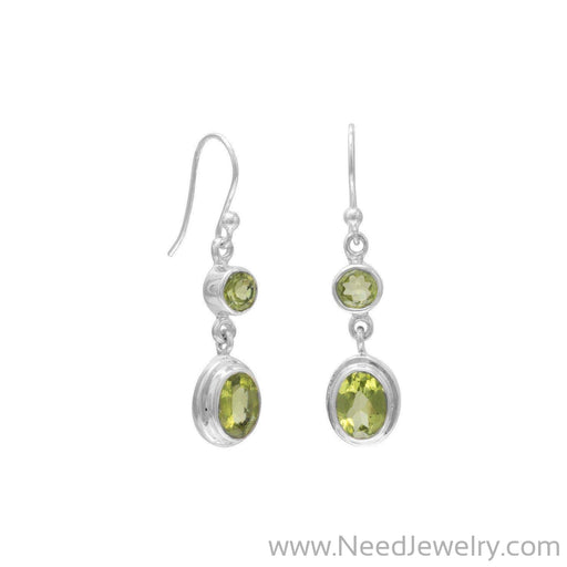 Round & Oval Peridot Polished Earrings on French Wire-Earrings-Needjewelry.com
