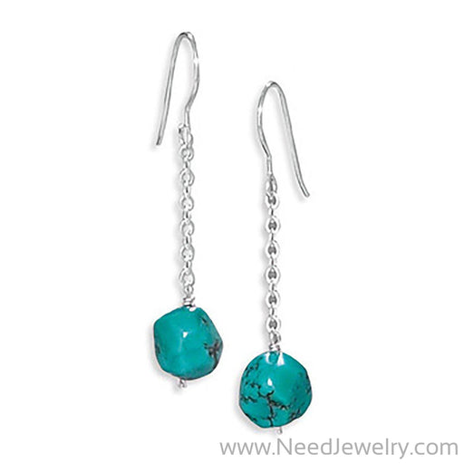 Reconstituted Turquoise Drop Earrings on French Wire-Earrings-Needjewelry.com