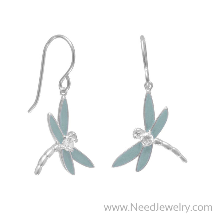 Enamel and CZ Dragonfly Earrings-Earrings-Needjewelry.com