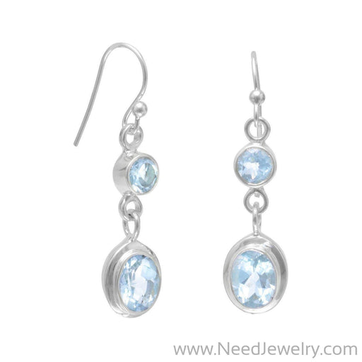 Round and Oval Blue Topaz Earrings on French Wire-Earrings-Needjewelry.com