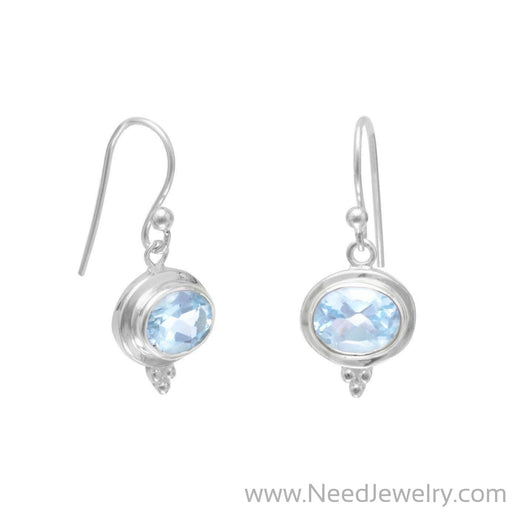 Oval Blue Topaz French Wire Earrings-Earrings-Needjewelry.com