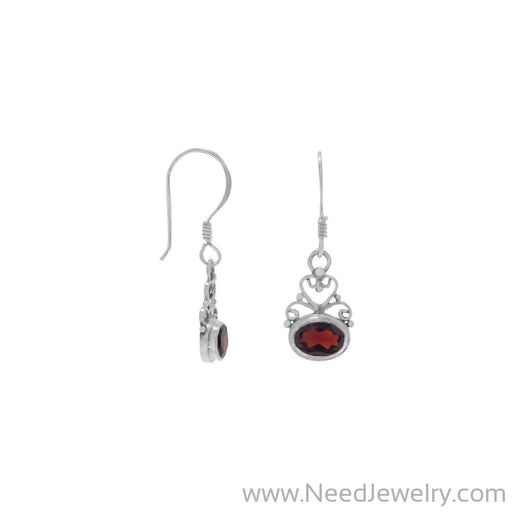 Scroll Design and Garnet Earrings-Earrings-Needjewelry.com